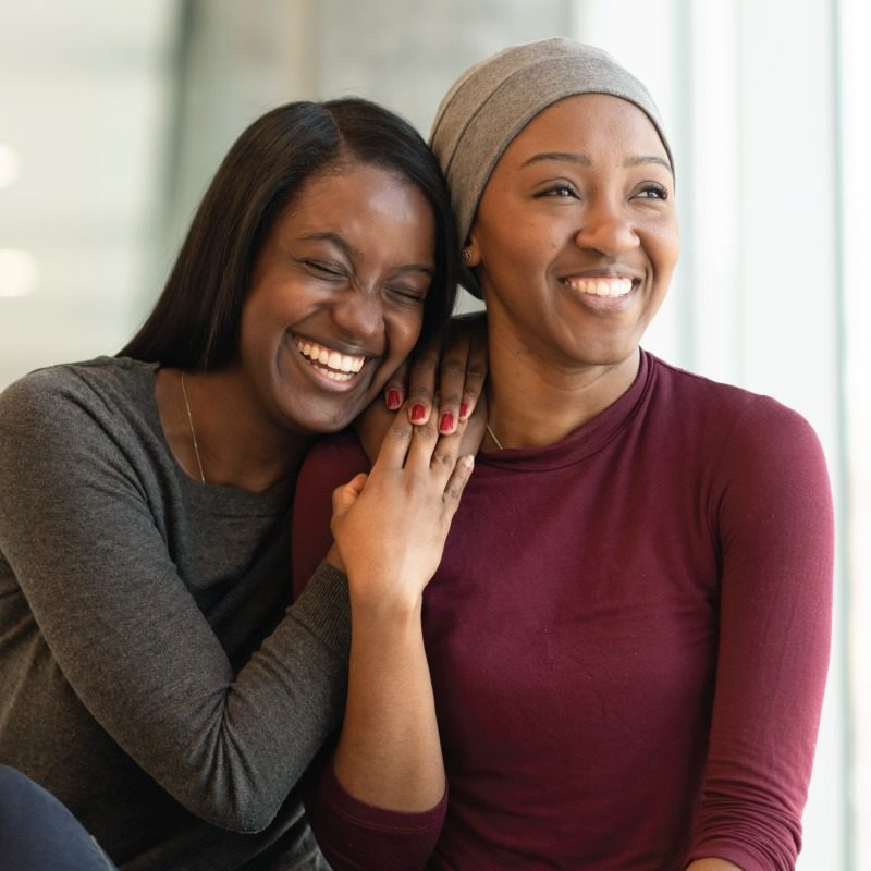 Two young African American Woman Laughing with happiness and friendship